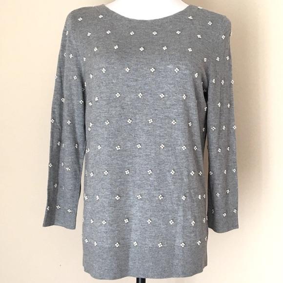 f81777396b3 TALBOTS 3/4 Sleeve Embellished Scoop Neck Sweater NWT